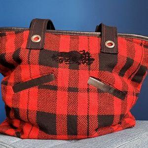 Roots Buffalo Plaid Harringbone Weave Tote Bag